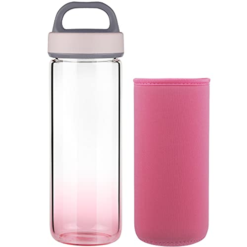 Life4u Botella de Agua de Cristal de Borosilicato Botella de Agua de Vidrio Sin BPA 750 ml (Rosa)
