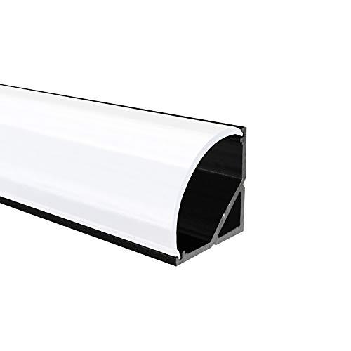 OPAL - 200 cm LED Aluminium Profil ECKE-RUND in Schwarz + 200 cm weiß milchige Abdeckung für LED-Streifen Alu von Alumino®