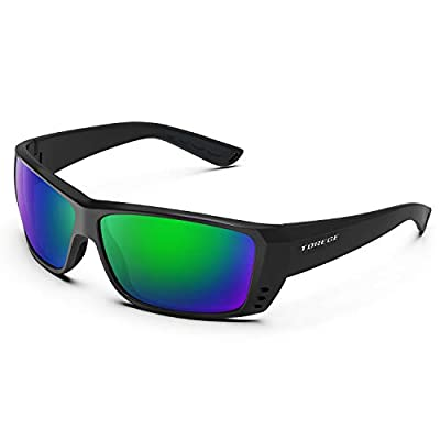 TOREGE Polarized Sports Sunglasses for Men Women Cycling Running Driving Fishing Golf Baseball Glasses TR23 (Bright Black&Black&Revo Green Lens)