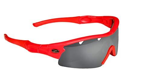 Rayzor Profesionales Ligeros UV400 Rojas Deportes Wrap Ciclismo Gafas de Sol, con un 1 Pieza con ventilación ahumada antideslumbrante Lente con Espejo
