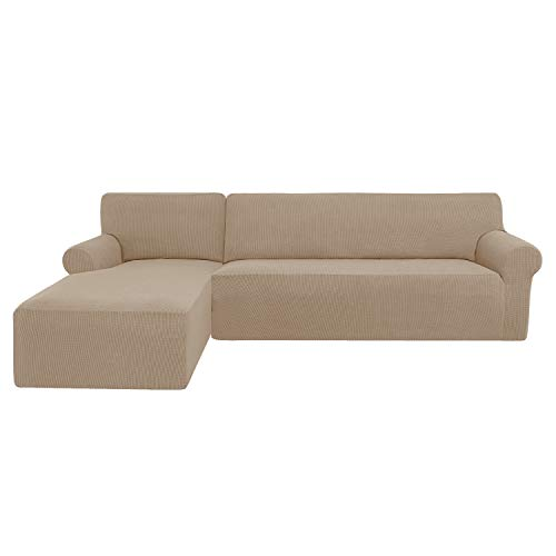 subrtex Sofabezug L Form Stretch Sofahusse Ecksofa Elastisch Antirutsch Eckcouch überwurf Weich Stoff Abwaschbar (Links 2 Sitzer, Sand)