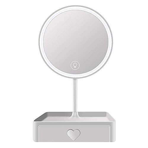 QAWSED Espejo para Mujer Espejo De Tocador Led con Estante De Almacenamiento Espejo De Maquillaje Iluminado De Viaje 5X 3 Niveles Brillo Ajustable 45 Grados;USB Iluminado Portátil