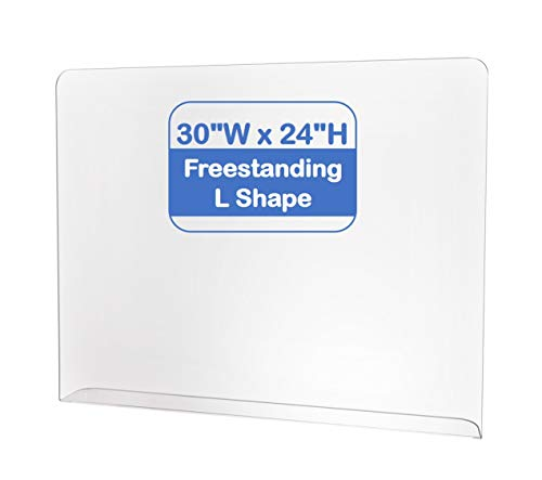 Protective Sneeze Guard, Acrylic Clear Table Shield Portable Plexiglass Barrier, Freestanding'L' Shape (30''W x 24''H, 3/16' Extra Thick)