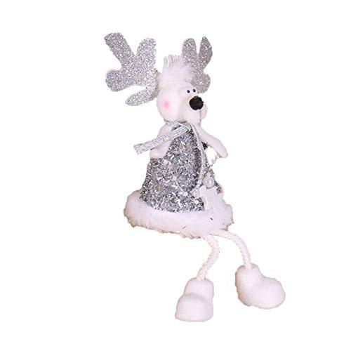 EDCV-poppen Oude poppenversieringen Kinderen Creatief knuffels Kerstversiering Goud en zilver, zilverkleurige elanden