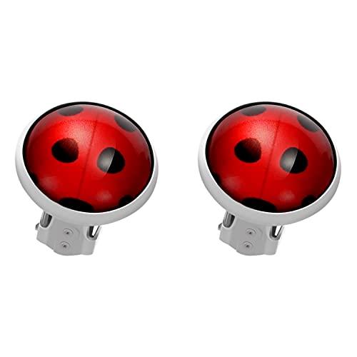 2 pares de pendientes de clip de mariquita, sin perforación, diseño de mariquita, con brazalete de plata y diseño de mariquita, pendientes de encanto rojo para niñas y niños, joyería de cosplay