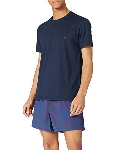Emporio Armani Underwear Pyjamas Yarn Dyed Woven Set de Pajama, Aviat.Vert.str/Poppy, XXL para Hombre