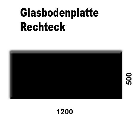 Glasbodenplatten farbig für Kaminöfen verschiedene Formen und Stärken Schwarz Rechteck 1200x500