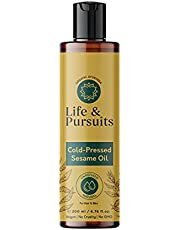 Life & Pursuits Cold-Pressed Unrefined Sesame Oil (6.76 fl oz / 200 ml) for Skin & Hair - Moisturizer for Healthy Hair and Smooth Skin
