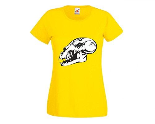 Camiseta con diseño de calavera, dinosaurio antes de nuestro tiempo, pico, esqueleto, malvado, motoclub, gótico, moto, calavera, evo, escuela antigua, para hombre, mujer, niños, 104 – 5 XL amarillo Mujer Gr.: X-Small