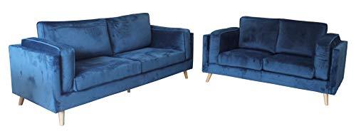 HABITMOBEL Conjunto de sofás TONINO, 3 y 2 plazas, Terciopelo Azul