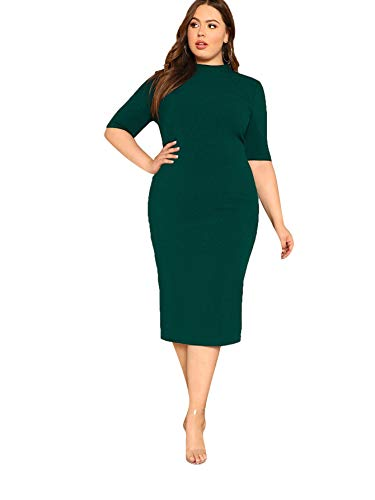 Floerns Women's Short Sleeve Plus Size Solid Bodycon Business Pencil Dress Green Pure 2XL