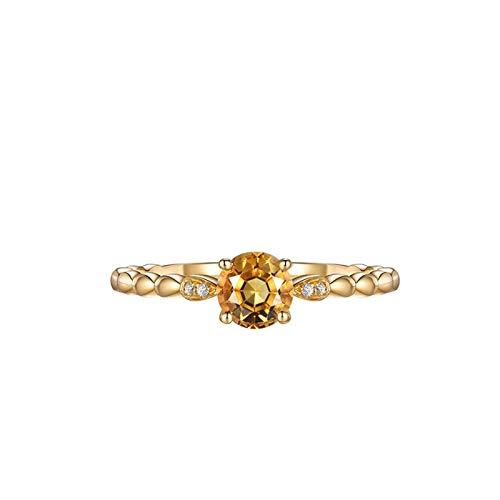 Aeici Gold 750 Damen Ring Siegelring Frauen Rund Citrin 0.52ct Diamant 0.01ct Citrine Eheringe Trauringe Größe 65 (20.7)