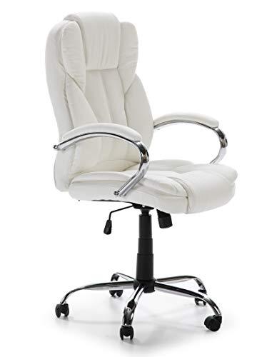 VS Venta-stock Sillón de Oficina elevable y reclinable Nixon tapizado con Piel sintética, Color Blanco, Metal Cromado