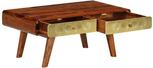 Daily Equipment Mesas de café Retro Side End Sofá Mesa Mesitas de noche de madera maciza de sheesham Suelo Teléfono Soporte de TV Mesa de té rectangular con cajón con estampado dorado para oficina