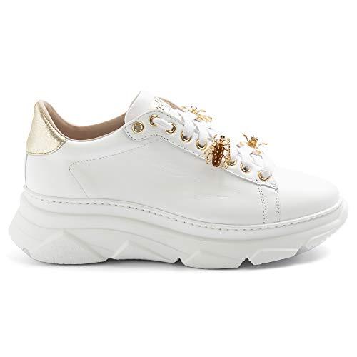 Stokton Damen-Sneaker Bee 857D Weiß und Gold - 857D Kalbsleder weiß - Gr., Weiß - Weiß - Größe: 35 EU