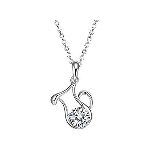 Collar para mujer, aleación de metal, collar hueco con incrustaciones de confesión para mujer, regalo de joyería (H, talla única)