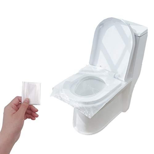 JZK 50 copriwater monouso in plastica impermeabile antibatterica, usa e getta, per il viaggio per il bagno pubblico, avvolti singolarmente, tascabili