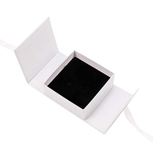 Kalaokei Caja para anillos, collar y pendientes, caja de almacenamiento portátil con cinta, aretes, pulseras y collares, color blanco