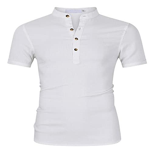 CFWL Camisa De Lino De Manga Corta para Hombre Camisa Casual De AlgodóN Y Lino para Hombre Blanco XL