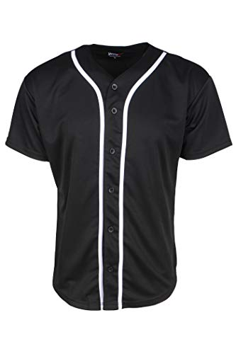 YoungLA Men's Baseball Jersey T-Shirts Plain Button Down 303 Black M