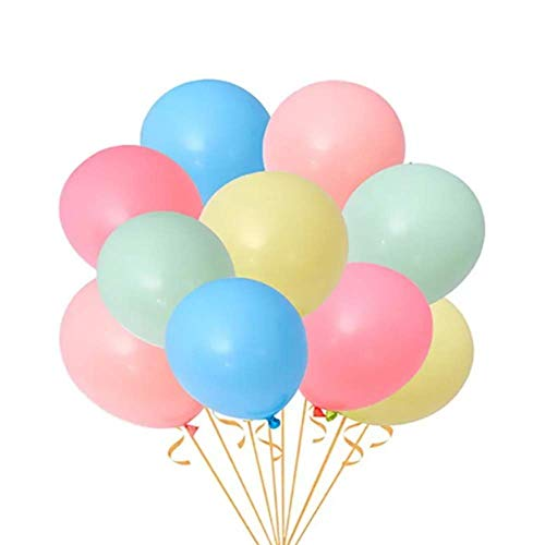 Unishop 10 Globos Grandes de Colores Pastel de Látex para Fiestas, Globos para Decorar en Celebraciones, Bodas, Cumpleaños, Rosa Azul Amarillo Rojo y Verde