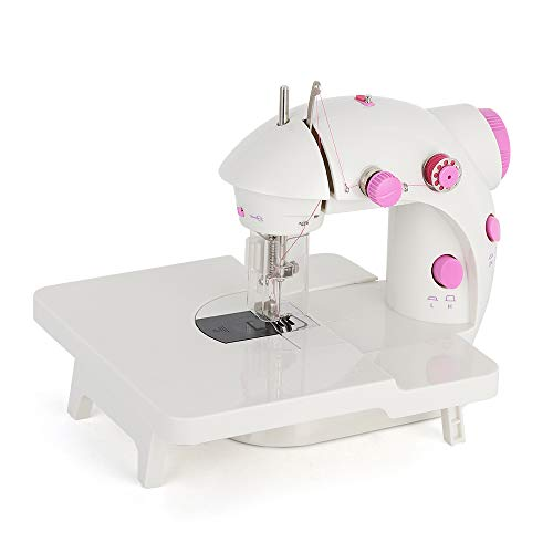 Mini Portable Sewing Machine with Extension Table Handheld Electric Sewing Machines Adjustable 2-Speed Sewing Machine for Kids Beginner and Home, Easy to Use, Pink