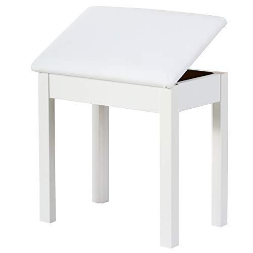 Doubleblack Banco Piano Banqueta Silla para Teclado con Almacenamiento Cojín de Piel Sintética Asiento Pies de Madera Maciza 45 x 31 x 47,5 cm, Blanco