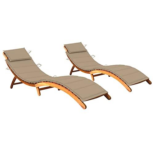 vidaXL 2X Madera Maciza de Acacia Tumbonas con Cojines Hamaca Cama Salón Diván Asiento Piscina Playa Jardín Patio Terraza Balcón Exterior Muebles