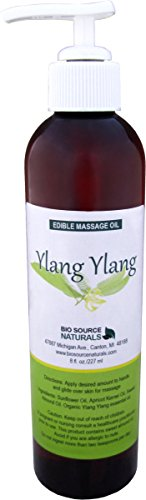 Ylang Ylang Massage Oil/Body Oil 8 Fl. Oz. with All Natural Plant Oils and Organic Ylang Ylang Essential Oil