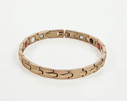 Elegant Satori Magnetic Therapy Bracelet, Jewelry for Arthritic Pain Relief & Improved Joint Motion for Women with Link Adjusting Tool - Unique Women's Gift (Rose Gold)
