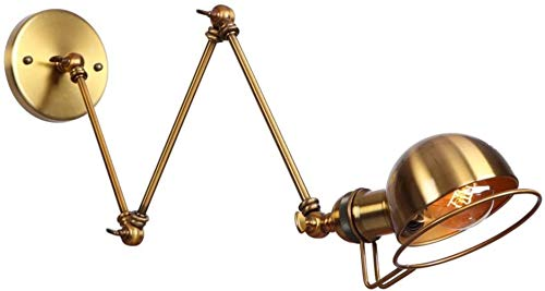Bedside Verstelbare lange wandlamp industriële stijl smeedijzer retro wandlamp zwenkarm muur hanglamp Light Sconces, (Color : Brass)