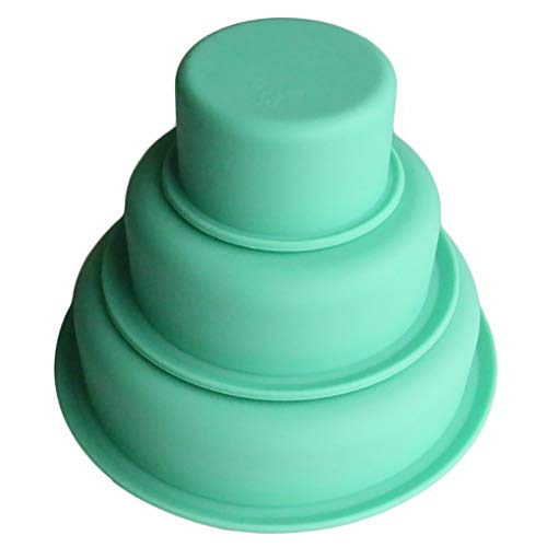 YUnnuopromi Molde de silicona antiadherente para repostería de 3 pisos, redondo, para fiesta de cumpleaños verde