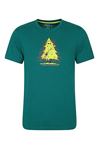 Mountain Warehouse Bike Organic Cotton Mens Tee - 100% Organic Cotton Mens Top, Lightweight Tee Shirt, Breathable Sweater - Best for Summer Outdoors, Running, Cycling Dark Green L