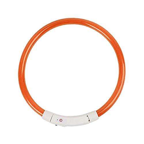 YKSO Collar de perro USB recargable emisor de luz del collar del animal doméstico TPU puede cortar la luz de seguridad del perro adecuado para perros pequeños y medianos