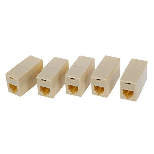 Fltaheroo 5 unids plástico beige RJ11 6P4C hembra/hembra cable de teléfono conector...