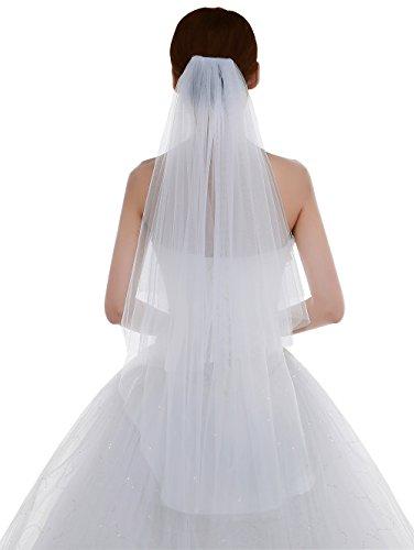 Edith qi 1 Couche Longueur des doigts Waltz Bridal Veils avec des paillettes Silver Edge bord/ée perl/ée