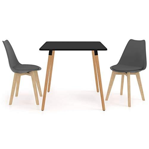 vidaXL Juego de Comedor 3 Piezas Muebles Restaurante Hogar Moderno Terraza Cocina Interior Mesa Silla Asiento Suave con Respaldo Gris