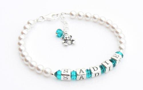 Teddy Bear Charm baptême – Bracelet argent Bracelet Prénom – personnalisé Boîte