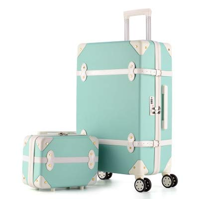 Mdsfe 20 inch Retro rolling Luggage set trip wheels suitcases sets with travel handbags carry on luggage - green, 22'