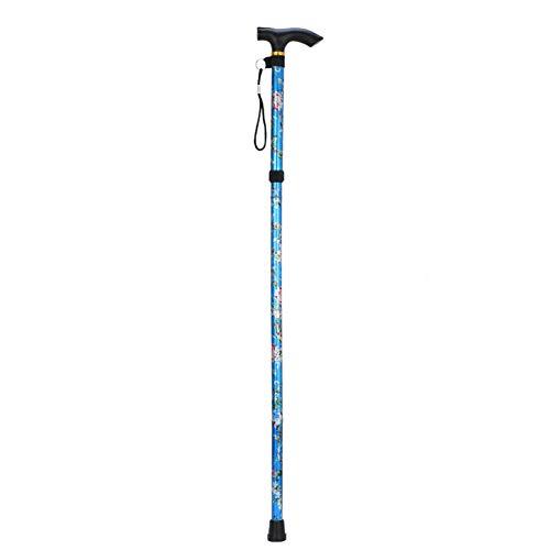 Bastón plegable, altura ajustable de cinco secciones, plegable, ligero, antideslizante, impreso, bastón unisex (azul)