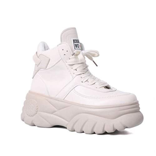 Frauen Chunky Turnschuhe Mode Einfarbig PU Lace Up High Top Flache Runde Kappe Beiläufige Weiße Kurze Stiefel Weibliche Keil Plateauschuhe