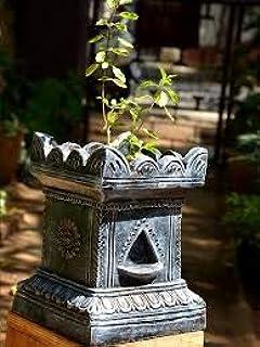 Village Decor Handmade Terracotta Clay Gardening/Brindavan Tulsi Pot / holy Basil Plant Black (B-H - 7 -10 inch)