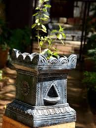 Village Decor Handmade Terracotta Clay Gardening/Brindavan Tulsi Pot / holy Basil Plant Black (B-H - 7 -10 inch)