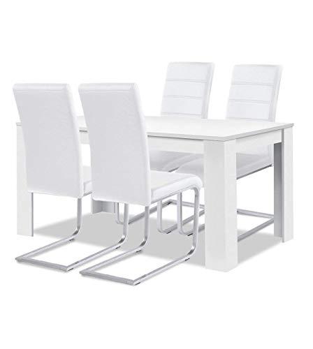 agionda® Esstisch Stuhlset : 1 x Esstisch Toledo Weiss 140 x 90 4 Freischwinger JAN PIET PU Kunstleder Weiss