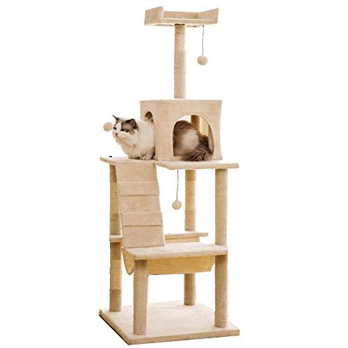 LXHONG Torre De Gato con Lindos Colgantes, Columpio para Gatos con Cenador, Árbol para Gatos Que No Ocupa Espacio para Interior Hospital De Mascotas Sisal, Fuerte Y Robusto