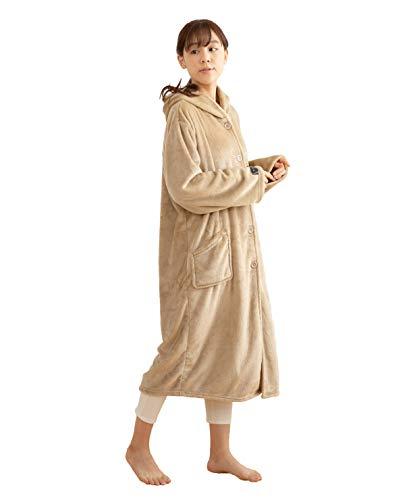 mofua (モフア) 着る毛布 プレミアムマイクロファイバー ルームウェア フード付き 着丈110cm ベージュ 48476416
