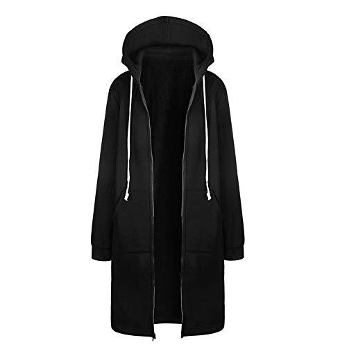 Vertvie Damen Strickjacke Casual Mantel Hoodie Pullover Lang Langarm Sweatjacke Mit Kapuze Warm Herbst Winter Kapuzenpulli S-5XL(Schwarz, 5XL/50)