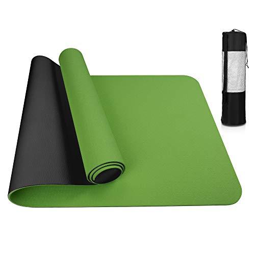 Vivibel Tappetino da Yoga, Yoga Mat ipoallergenico con Tracolla, Tappetino per Yoga, Double-Sided Antiscivolo Tappetino per Pilates, Esercizi Fitness Tappetino Allenamento (183 x 61 x 0,6 cm)