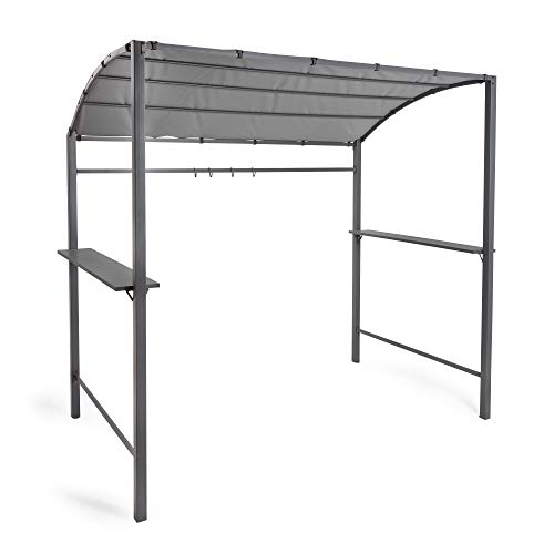 VonHaus Barbecue Canopy 7.5ft – BBQ Gazebo Shelter Tent Steel Frame with Soft Weather-Resistant and Fire-Retardant Canopy- Grey