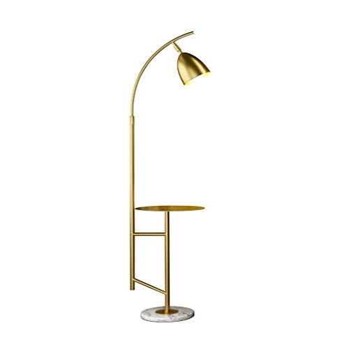 FWZJ Lámpara de pie lámpara estándar Lámpara de pie con Soporte de Hierro nórdico LED Pantalla Redonda Luz de Suelo Sala de Estar Dormitorio Lámpara de pie Lectura Luz de Suelo (Color: Dorado)
